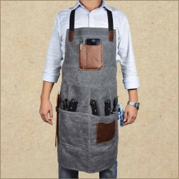 Waxed Canvas Rugged Apron - Shop Work Tool Apron